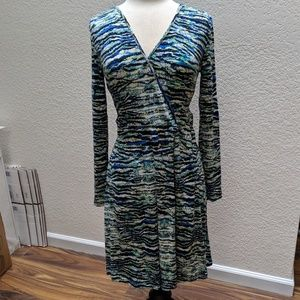 Cynthia Rowley v neck dress. Blue/green sz S